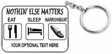 EAT SLEEP NARROWBOAT gift KEYRING for canal narrow boat barge - key ring chain