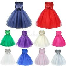 Flower Girls Sequinned Dress Princess Sleeveless Formal Wedding Party Bridesmaid
