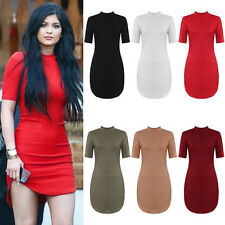 NEW WOMENS LADIES SHORT SLEEVE HIGH TURTLE NECK CURVED HEM TUNIC TOP MINI DRESS