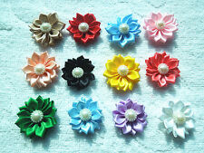 DIY 20/50/100PCS Satin Ribbon Flower with  Bead Appliques~Craft/Trim