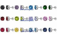 .925 Sterling Silver PRETTY ROUND CZ STONE DESIGN STUD CASTING EARRINGS