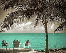 Three Beach Chairs-Aqua Home Decor Picture Wall Art Seascape Ocean 2