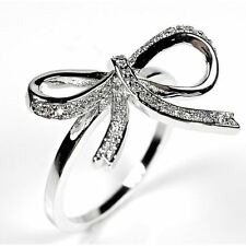 Sterling Silver Pave Ribbon Bow Cz Silver Cocktail Ring White Cubic Zirconia 92
