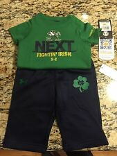 NOTRE DAME FIGHTING IRISH BODYSUIT-CREEPER SET 3-6 & 6-9 MONTHS-NWT-ROMPER