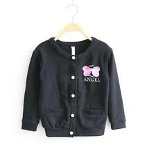 Toddlers Girls Button Front Bow-knot Outerwear Jacket Long Sleeve Coat 1-5Y LUP