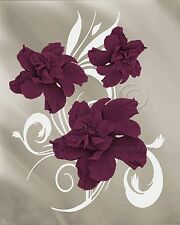 Elegance-Maroon Home Decor Picture Wall Art Floral Flowers 2