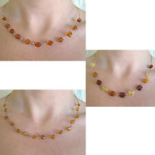BALTIC MULTICOLOR or HONEY AMBER & SILVER HANDMADE BEAD NECKLACE CHOKER BEADED