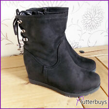 Womens Faux Suede Ankle Boots Black Wedge Flat Tread Lace up Ankle Design Ladies