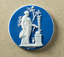 Wedgwood Dark Blue Jasper Dip Roundel/Jewellery Cameo With Classical Bas Relief