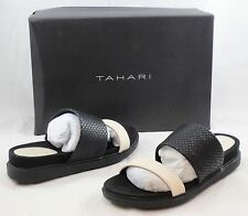 TAHARI Women's Marly Leather Sandal - Warm White/Black - Multi SZ NIB - MSRP $89