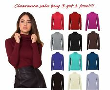 New Ladies Long Sleeve Ribbed Polo High Neck Stretchy Jumper Shirt Top Plus Size
