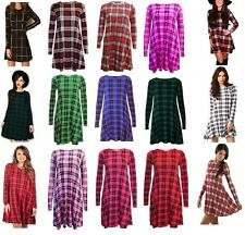 Womens Lilac Tartan Check  Print Long Sleeve Skater Swing Dress Plus Size  8-28
