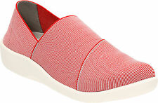 Clarks Womens Sillian Firn Red Casual Textile Slip On Shoe