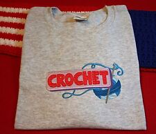 Embroidered Crochet Unisex T shirt or Crew Neck Sweatshirt your choice