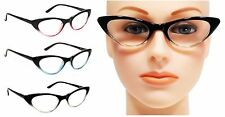 CUTE WOMEN CAT EYE READING GLASSES VINTAGE SPRING HINGES FRAME READERS
