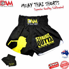 DAM Black MUAY THAI BOXING SHORT MMA BOXING MUAY THAI, KICK BOXING NEW
