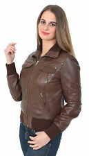 Bomber Leather JACKET for womens short fitted BROWN zip up style leather jacket