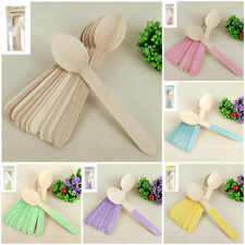 Wooden Spoons x 12 Cutlery Wood Natural Rustic Wedding Party Table Utensils