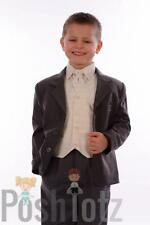 Boys Suits, Wedding, Pageboy, Formal, 5 Piece Cream & Grey Suit, 0-3mths-15yr