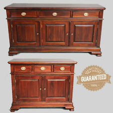 Solid Mahogany Wood Rope Carved Side Board 2 or 3 Drawers Buffet Antique Style