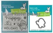 Lawn Fawn WINTER PENGUIN Clear Stamp Set LF727 + Lawn Cuts Matching Die LF728