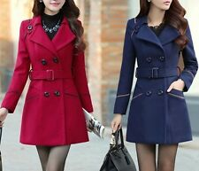 Stylish Winter Slim Women's Wool long Jacket Belted Coat Peacoat Double-breasted
