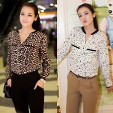 Leopard Stars Print Casual Women Blouses Long Sleeved Chiffon Stand-collar Tops