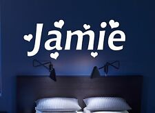 Personalised Name HEART hearts Wall Art girls boys Room Childrens Kids Sticker 2