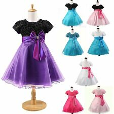 Kids Girl Tulle Bowknot Sequins Graceful Dresses Skirt For Pageant Wedding Party