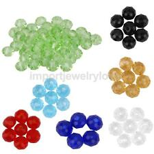 50 Crystal Faceted Glass Rondelle Loose Beads Spacer Jewelry Making Charm 4mm