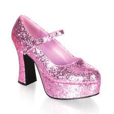 Funtasma MARYJANE-50G Women's Shoes Baby Pink Glitter Platforms Block High Heels
