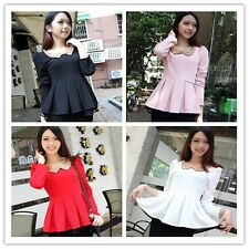 Sweet Hot Women Tops Fashion Long Sleeve Polo Neck Solid Pleated Under Clothing