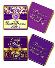 PERSONALISED PURPLE/GOLD/CREAM NEAPOLITAN WEDDING CHOCOLATE FAVOURS. GUEST/GIFT.