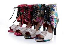 New Women's Floral Peep Toes Shoes High Heels Pumps Zip Lace Up Sandals US Size