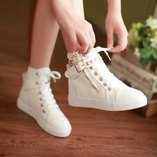 Fashion Women Flat Heel Sport Ankle Boots High Top Shoes Canvas Lace Up Boots B1
