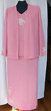 JACQUES VERY CLOVER PINK CREPE OYSTER & PEARL APPLIQUÉD SKIRT/TOP& JACKET T1C