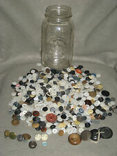 LOT of VINTAGE BUTTONS, HALF a MASON JAR FULL, MIXED LOT, NICE!