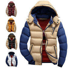 Men's Fashion Warm Padded Jacket Hooded Coats Parka Winter Ski Outerwear Outcoat