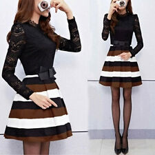 Spring Autumn Graceful Womens Long Sleeve Lace Striped High Collar Mini Dress
