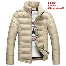 Mens Fashion Casual Padded Jacket Winter Warm Cotton Coat Stand Collar Outerwear
