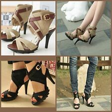 Summer Womens High Heels Pumps Ladies Ankle Strap Sandals Shoes, Black, Apricot