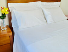Queen Bed Sheet Set 1500TC/10cm2 Pure Cotton Fitted Flat Pcs White/Ivory