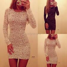 Hot Women Sexy Slim Bodycon Lace Floral Mini Dress Long Sleeve Club Party Dress