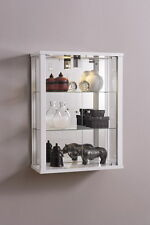 LOCKABLE DOUBLE WALLMOUNTED GLASS DISPLAY CABINETS MIRROR BACK AND LIGHT