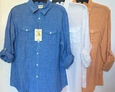 Murano 100% Linen Mens Roll Long Sleeve Casual Shirt Slim Fit Size M L XL NWT