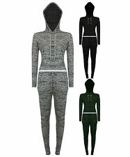 Womens Ladies Lace Tie Up Eyelet Crop Hooded Melange Loungewear Tracksuit pants