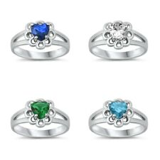 Sterling Silver 925 BABY HEART DESIGN WITH CZ STONE RINGS-AVAILABLE 1,2,3,4,5