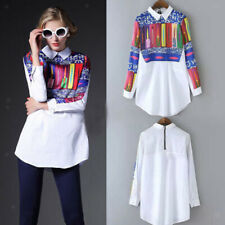 Fashion Womens Korean Chiffon Shirts Floral Long Sleeve Blouses Crew Neck Tops