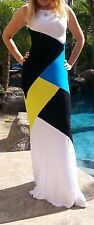 Maya Antonia-PLUS SIZE-Blue-Yellow-Black-White Color-Block Maxi Dress,Extra Long