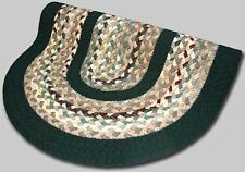 New Englands Minuteman Wool Country Oval Braided Rug Green Beige Burgundy #68